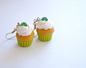 Vanilla Frosted Lime Cupcake Dangle Earrings - Miniature Food Jewelry