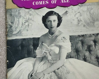 Princess Margaret comes of age,by Phyllis Davies, Pitkins series vintage book, 1950's,  souvenir,  royal collectable,
