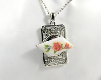 Pendant rose flower swallows birds pattern romantic geometric pendant square pendant rhinestones Exchange jewelry chunk cabochon vintage