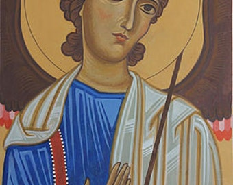 Archangel Michael. Icon painting, traditional iconography. Egg tempera. Orthodox icon. Christian icon Active