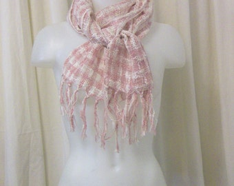 VINTAGE Open Weave Pink & White Check Neck Scarf, Muffler with Fringed Ends