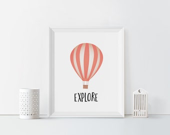 Explore Hot Air Balloon Printable Pink Nursery Decor Typography Adventure Print Nursery art Hot Air Balloon Nursery Pastel Decor Girls room