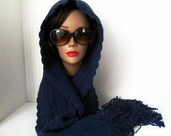 Angelique by Innate Expressions_A Hooded Scarf for Women_In Navy Blue - READY TO SHIP