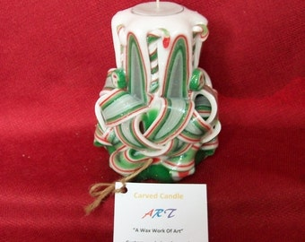Carved Candle - Hand Carved Candy Cane And Peppermints - Winter Christmas Home Decor, Party Gift Idea, Refillable LED GLOW & Tea Light