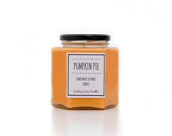 Pumpkin Pie Scented Candle, Pumpkin Scented Candle, Strong Scented Candle, Foody Scented Candle, Orange Candle, Halloween Candle, Soy Candle