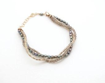 Triple Strand Pearl Bracelet / Black Freshwater Pearls / Smoky Quartz