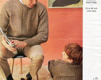 "Vintage Mens Sweater knitting pattern pdf mens jumper ribbed crew neck round neck 24-46"" DK light Worsted 8ply PDF instant Download"