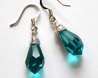 Teal Earrings, Fine Jewelry, Swarovski Earrings, Gift for Her, Dressy Earrings, Wire Wrap Jewelry, Teal Drop Earrings, Teal Crystal Earrings