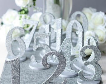 Wedding Table Numbers-Metallic Paint or Glitter-Detachable Base for easy storage TNPSB130
