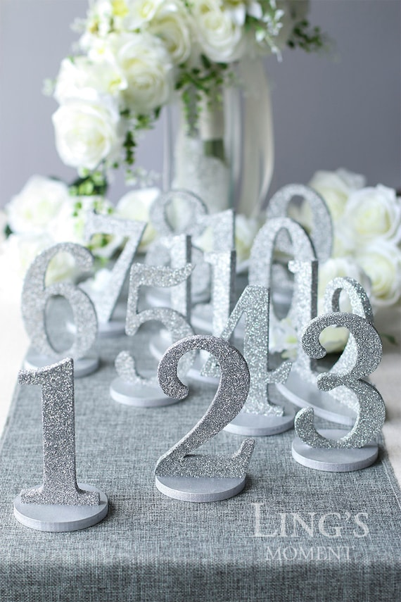Wedding table numbers metallic paint or glitter detachable for Wedding table organizer