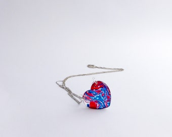 Long Dainty Heart Pendant Necklace, Small Blue and Red Resin Pendant Necklace, Thin Heart Necklace, Red Heart Translucent Pendant Necklace