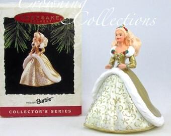 1994 Hallmark Holiday Barbie Doll Keepsake Ornament 2nd in Celebration Series Gold Dress Vintage Doll RARE Christmas