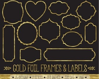 Gold Frames Clipart. Gold Foil Labels Clip Art. Metallic Glitter Scrapbook Border. Sparkly White Glitter Labels. Golden Digital Frames