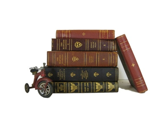 Leather books old books for decorating antique by for Antique books for decoration