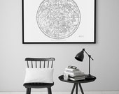 Constellation Art Poster. Astronomy Print - Celestial Atlas Printable Map - Instant Download. Southern Hemisphere. Astronomy Illustration.
