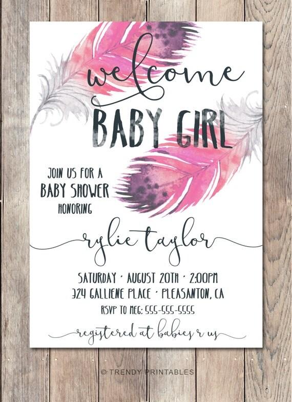 baby shower invitation boho baby shower invitations girl baby shower