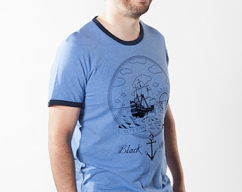 The Adventure - round neck tee-shirt with contrasts rib for men