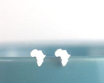 Africa Earrings, Small African studs, African pride, rastafarian, rasta pride, I love africa