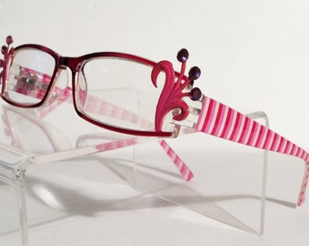 Wild flower Reading glasses. +1.50, Pink