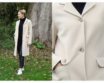 Sale! Vintage Cream Coloured Wool Single Breasted Coat /  size UK 8-10