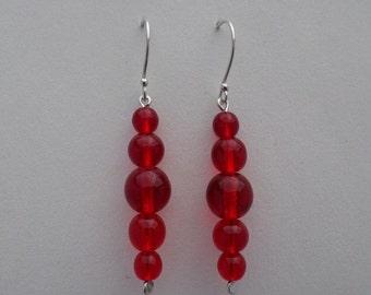 Red Graduated Czech Druks Glass Beads On Sterling Silver Earrings