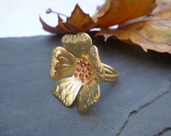 Gold  Plated 18K Flower Ring, Nature Gold Ring, Flower Jewelry, Handmade Ring, Gold Ring for Her, Enamel Jewelry, Contemporary Ring, Gold