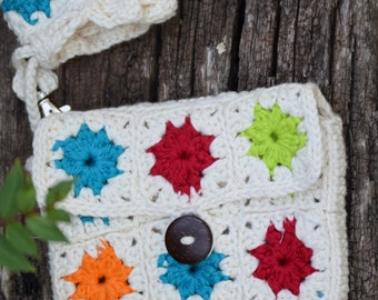 Granny Square Tablet Case - Rainbow Multicolor 8 inch Tablet Holder - Crocheted iPad Mini Case with Storage Pouch - Cotton Tablet Sleeve