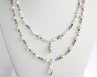 Swarovski white pearl and crystal 2-strand necklace