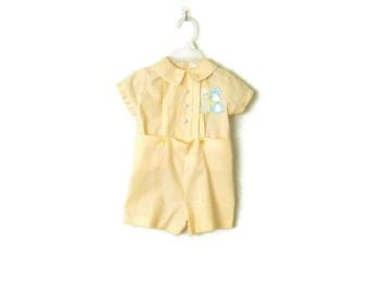 Vintage Boy Outfit 12 M / Yellow Easter Heirloom Suit