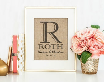 Personalized Wedding Gift | Gift for Couple | Family Name Sign| Wedding Burlap Print | Personalized Wedding Sign | Bridal Shower Gift