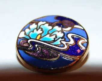Scarce RARE Asian Champleve Enamel Button ~ Cobalt Blue ~ Back Mark ~ Lotus Bloom Along the Water ~ Pristine and Very Vivid Colors!