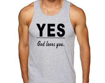 Yes God Loves You Gray Man's Christian Tank, Christian T-Shirt, Christian Christian Apparel, Christian Shirt, Christian Clothing