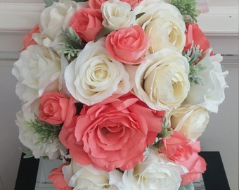 Rich Coral and Cream Rose Bridal Bouquet