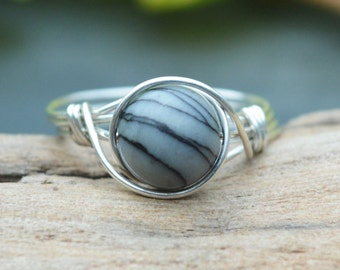 Picasso Jasper Ring 925 - Wire Wrapped Ring - Black and White Ring - Grey Ring - Picasso Marble - Unusual Gemstone Ring - The Ivy Bee