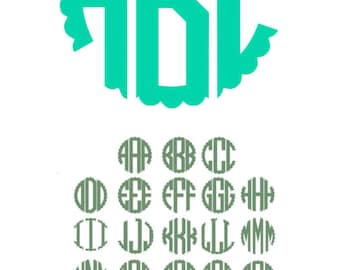 Scalloped Circle Monogram Svg, Scalloped Circle Monogram Alphabet, Svg Fonts, Cricut Fonts, Silhouette Cut Files