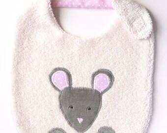 "Bib for girl- organic cotton- ""Zoé mouse""-born presents"
