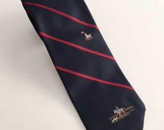 Vintage Marshall Field Collectors Edition Necktie with Red Stripe and Embroidered Detailing, Vintage Necktie, Black Necktie with Red Stripes
