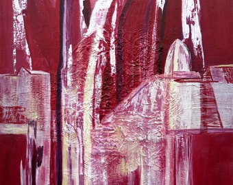 Cathedral in red, original painting, 50 x 70 cm, abstract painting on canvas in Bordeaux and white