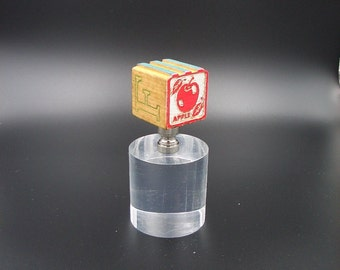 Custom Lamp Finial with an  Antique 1950's Childs Alphabet Block with an Apple