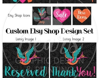 Custom Shop Banner Set, Banner and Icon Set, Custom Etsy Banner, Custom Banner Set, Etsy Graphic Design Package, Custom Etsy Shop Design