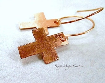 Rugged Cross Copper Earrings Rustic Primitive Religious Christian Jewelry, Minimalist Jewelry