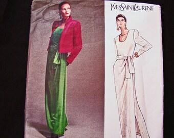Vogue Paris Original Pattern Yves Saint Laurent Womens Jacket Evening Dress with Sash Pattern Misses size 8 10 12 UNCUT