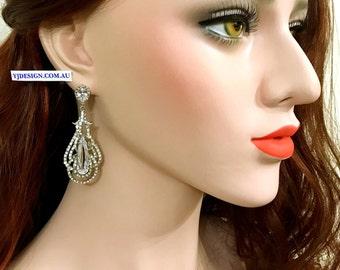 Teardrop Bridal Earrings, Statement Wedding Earrings, Cubic Zirconia Wedding Jewelry, Cz Drop Bridal Jewelry, Silver Earrings, OSCAR