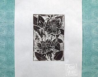 Garden Rose Linocut Art Print