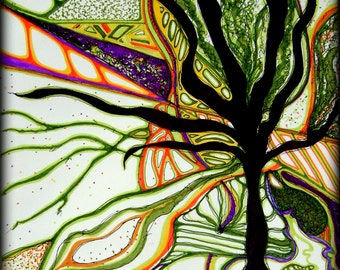 Giclee art print, abstract tree, prismacolor, 8x10