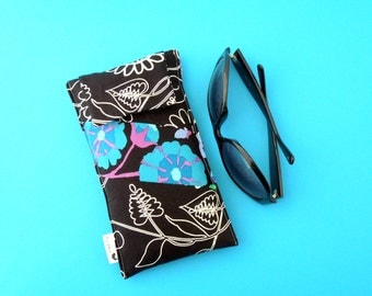 Roomy Sunglasses Case in a Black and Floral Design