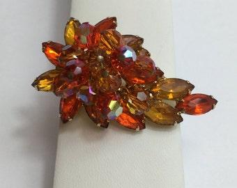 Rare Juliana Bright Red Orange Paisley Brooch, Juliana Jewelry, DeLizza and Elster, Summer Pin