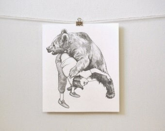 """art for the brave: """"wrestling the bear,"""" original pencil drawing"""