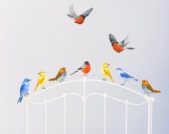 Birds Wall Decals, Nursery Murals, Nursery Woodland Art, Birds in Flight, Playroom Decor, Watercolor Mural - PVC free, Fabric Wall Decals