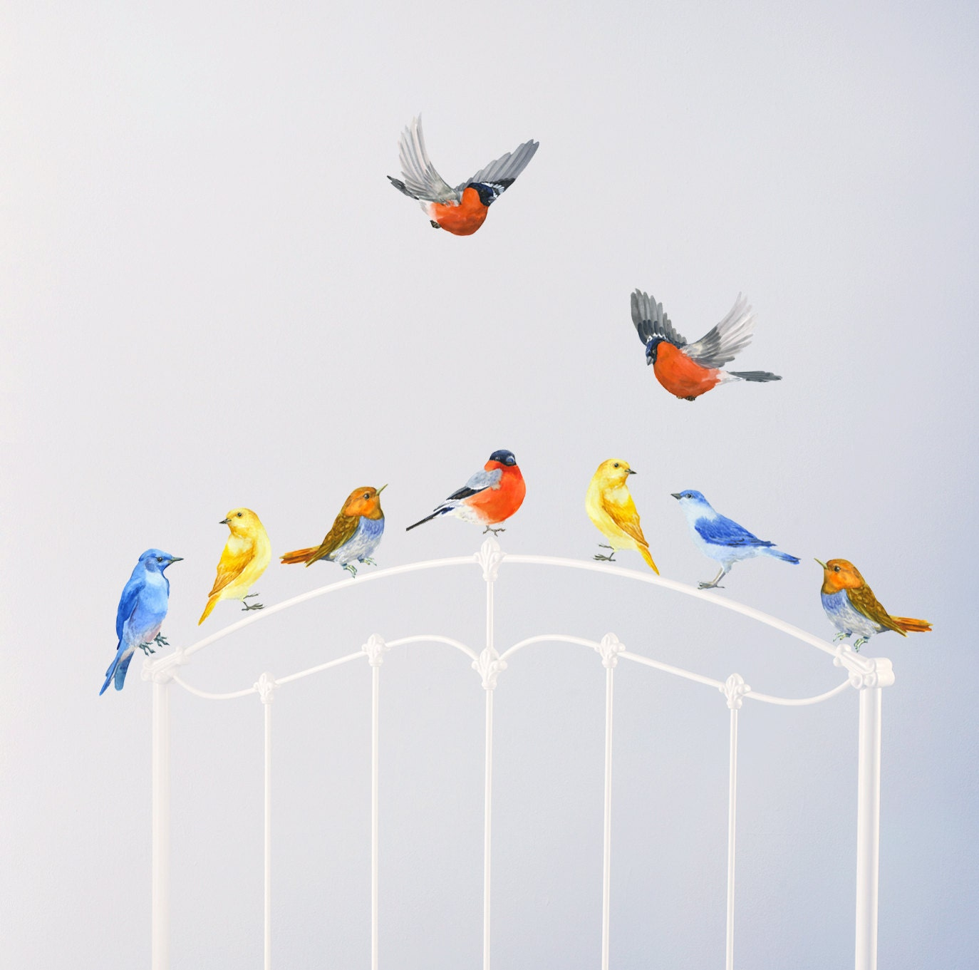 Birds wall decals nursery murals nursery woodland art birds for Decoration murale oiseau 3d